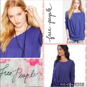 • FREE PEOPLE • Draped French Terry Pullover, NWOT